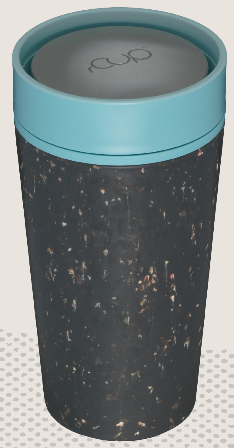 photo of the rCup with blue and grey speckled design