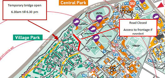 Road closure outline as part of Student Village works