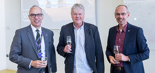 photo of Roger Haslam with Professor Steve Rothberg and Professor Cees De Bont