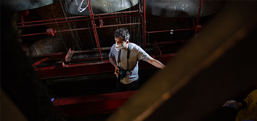 Sam Belinfante in the Carillon Tower. Image courtesy of Benjamin Warner.