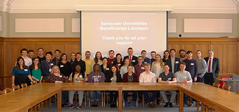 Pictured are members of the University community and Santander Universities at the beneficiary lunch.