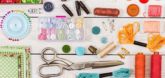Pictured is a selection of sewing tools.