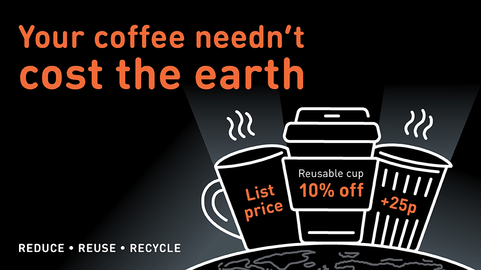 Words 'Your coffee neednt cost the earth' with icons of a single-use cup, resusable cup and a mug