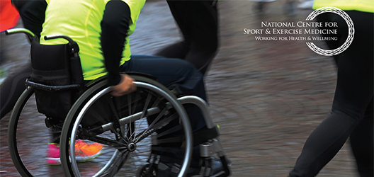 Pictured is a person in a wheelchair and the National Centre for Sport and Exercise Medicine logo.