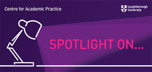 Graphic with a lamp putting light onto 'Spotlight on...' text with purple background