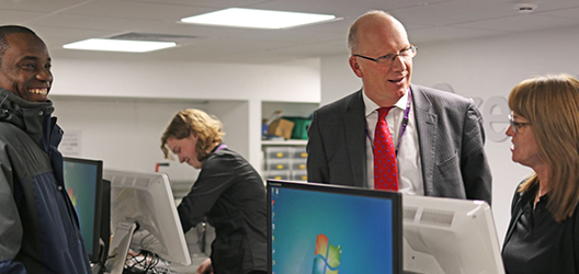 Vice-Chancellor visiting the staff in Print and Post at the University