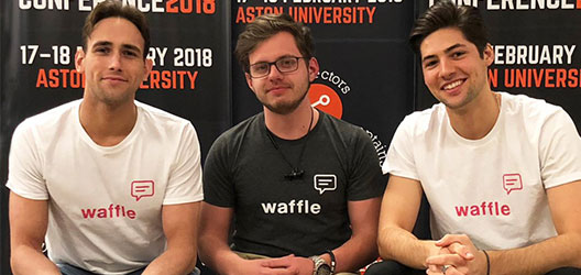 Students Matt Pritchard and James Powell-Tuck with fellow Waffle co-founder