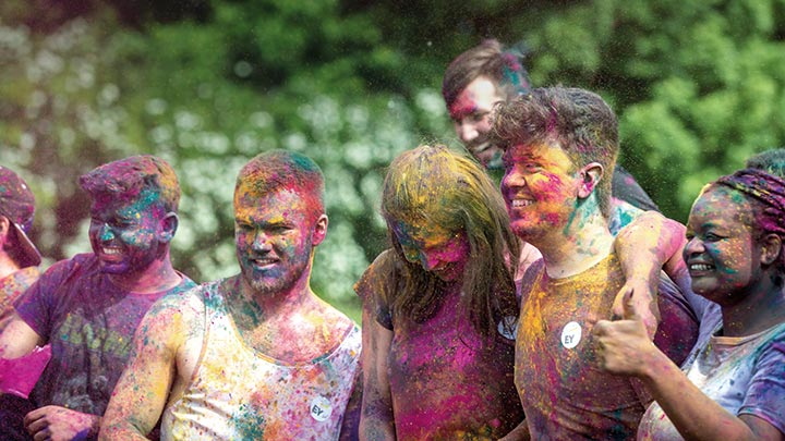 Students during colour run
