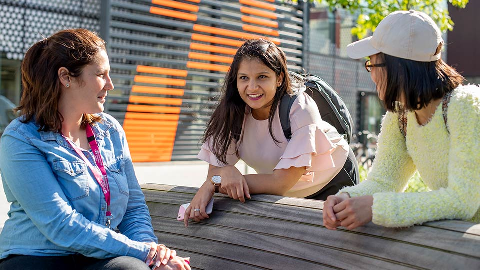 Students talking outside Loughborough University London campus
