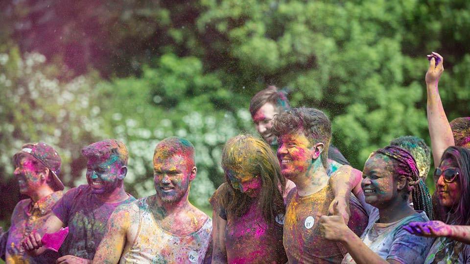 Students after colour splash run